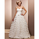 A-line Sweetheart Floor-length Taffeta And Lace Wedding Dress