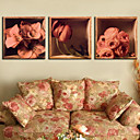 Stretched Canvas Print Floral Roses Set of 3 1301-0177