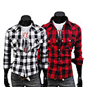 Men's Cheap Long Sleeve Chequer Print Leisure Shirt(Assorted Colors And Sizes)
