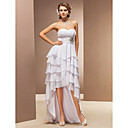 A-line Sweetheart Asymmetrical Chiffon Wedding Dress