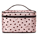 Pink Heart Pattern Portable Cosmetic Makeup Pouch Hand Carrying Case Bag With Cosmetic Mirror