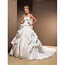 Ball Gown Strapless Taffeta Chapel Train Wedding Dress