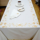 Classic Cotton Polyester Blend White Floral Table Cloths