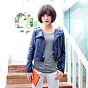 Fashion Long Sleeve Collarless PU Casual/Office Jacket