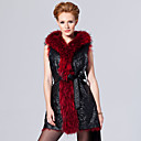 Hooded Collar Lambskin Leather &amp; Raccoon Fur Casual/Party Vest (More Colors)