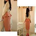 Women's Pencil Skirt with Peplum On The Back