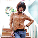 Long Sleeve Standing Collar PU Casual/Office Jacket