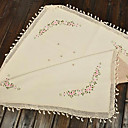 Cotton Linen Blend Embroidery Beige Floral Table Cloths