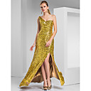 Sheath/Column One Shoulder Sweep/Brush Train Sequined Evening Dress