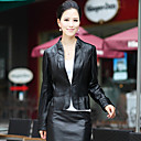 Long Sleeve Standing Collar Lambskin Leather Casual/Office Jacket (More Colors)