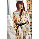 Long Sleeve Turndown Collar Rabbit Fur Casual/Party Coat