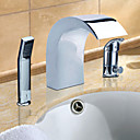 Chrome Finish Contemporary Style Widespread Stainless Steel Bathroom Sink Faucets with Handheld Faucet
