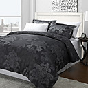 3PCS Azua Black Flower Jacquard Double / Queen / King Set housse de couette