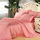 4PCS Ivy Pink Solid Tencel Duvet Cover Set