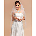 Beautiful Two-tier Fingertip Wedding Veil With Beaded Edge