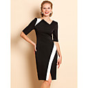 TS Asymmetric Collar Contrast Color Jersey Dress
