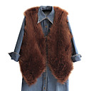 Nice Sleeveless Collarless Faux Fur Casual/Party Vest (More Colors)