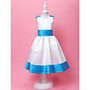 Ball Gown Jewel Tea-length Satin And Satin Adorable Flower Gril Dress