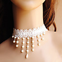 Lace Gothic Bianco donna Beaded collana di perle