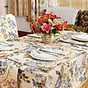 Country Polyester Cotton Blend Print Multi-color Floral Table Cloths