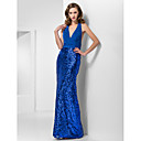 Trumpet/Mermaid Halter Floor-length Chiffon And Sequined Evening Dress