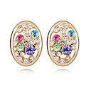 Fashion Oval 18K Gold Plated High Quality Alloy and Crystal Earring(More Colors)