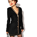 Women's Tweed Long Coat with Grommet