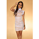 Women's White Elegant Floral Mesh Lace Dress(Bust:86-102cm Waist:58-79cm Hip:90-104cm length:85cm)