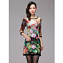 High End Dames Lotus Print Jurk met Beaded Collar