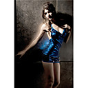Moda feminina mini vestido azul Sequins (Busto :86-102 centmetros Cintura :58-79c)