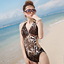 Women's Sexy Halter One-piece Leopard Swimwear with Bra Pads