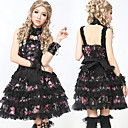 Sleeveless Short Black and Pink Floral Cotton Gothic Lolita Dress with Lace