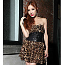 Women's PU Splicing Strapless Dress