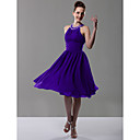 A-line Jewel Knee-length Chiffon Bridesmaid/ Wedding Party Dress