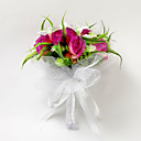 Satin White Lily & Fuchsia Rose Bridal Bouquet