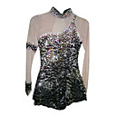 Elastic Sequins Spandex Elasticated Net Black Figure Skating Clothing