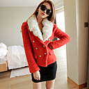 Women's Wool Jacket with Fur Collar