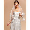 Nice One-tier Elbow Wedding Veil With Lace Applique Edge