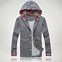 Men's Check Splicing Hooded Coat