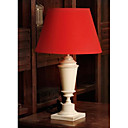 40W Modern Table Light with Red Fabric Shade and Candleholder-Shaped Lampstand