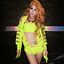 Sexy Cool Grne Fluoreszenz Lycra Gymnastikanzug Hip-Hop-Uniform (2 Stck)