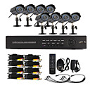 8 Channel One-Touch Online CCTV DVR System (8 Freien Warterproof Camera)
