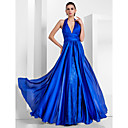 Trumpet/Mermaid Halter Floor-length Satin Chiffon And Lace Evening Dress