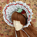 Handmade Gray Check Pattern Cotton White Lace Counry Lolita Bonnet