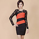 ZHI YUAN Color Block Lace Sheath Dress(More Colors)