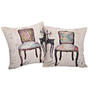 Set of 2 Classic Chair Cotton/Linen Decorative Pillow Cover