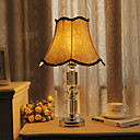 40W Traditional Table Light with Crystal Lamp Pole and Fabric Shade