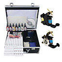2 Cast Iron Liner and Shader Tattoo Machine Gun Kit with 7Pcs Ink and Carry Case