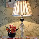 40W Stylish Table Light with Crystal Lamp Pole and Pleated Fabric Shade in Polished Chrome
