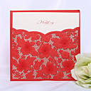 Cutout Design Inserted Wedding Invitation In Red (Set of 50)